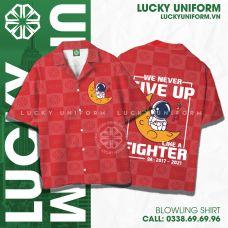 Áo bowling shirt ( sơ mi oversize) đỏ